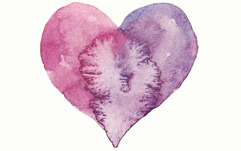 cuore in due purple